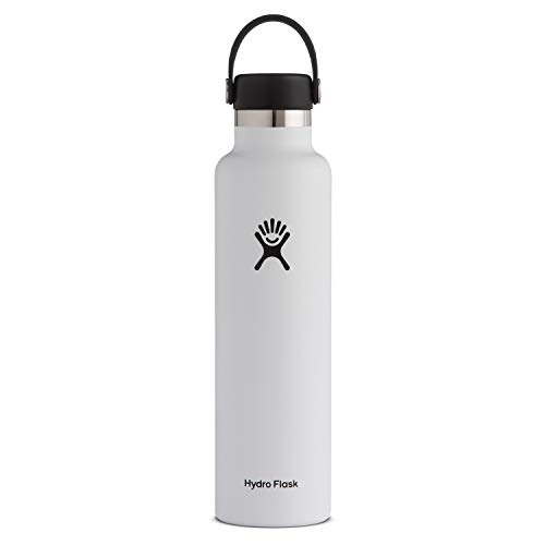 Hydro Flask Standard Mouth Botella de Agua Isotérmica, 18/8 Stainless Steel, Blanco (White), 709ml (24 oz)