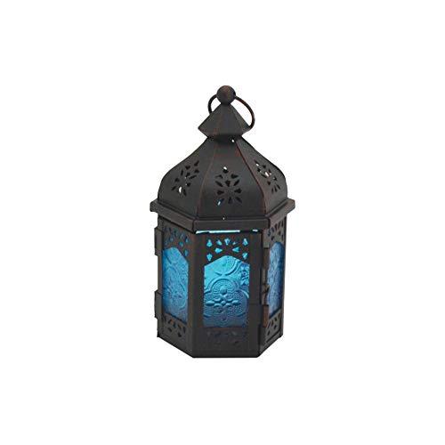 Rebecca Mobili Portavela Étnico, Farol Decorativo, Vidrio Metá, Azul Negro, Salón Jardín - Medidas: 17 x 9 x 8 (AxANxFON) - Art. RE6561