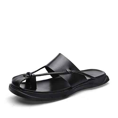 CDYEGSJ Pantuflas for Hombres Slip-On Casual Estilo OX Cuero Ligero Cómodo Chanclas de Color Puro con Anillo en el Dedo del pie (Color : White, Size : 38 EU)