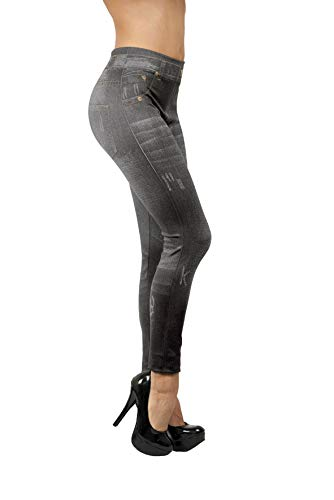 INDUSTEX Direct TV Outlet Slim Jeggings Original Visto en TV Push up Material Oculta Celulitis y Grasa Cómodo y estético para Adelgazar y Moldear Cuerpo - Tamaño L/XL Color Gris