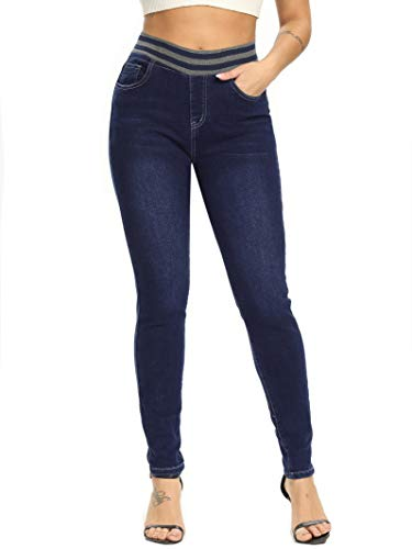 Yehopere Women's Pull-on High Waist Elastic Stretch Shaping Skinny Jeans Blue