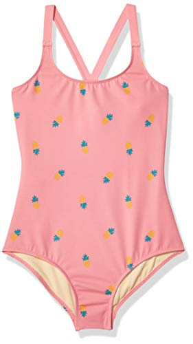 Amazon Essentials Girl's One-Piece Swimsuit, Pink Pineapple, Small