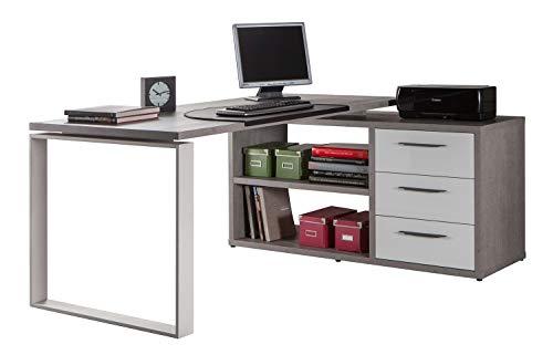 Eck-Schreibtisch, 170x140 cm, Weiß-Beton, mit 3 Schubladen