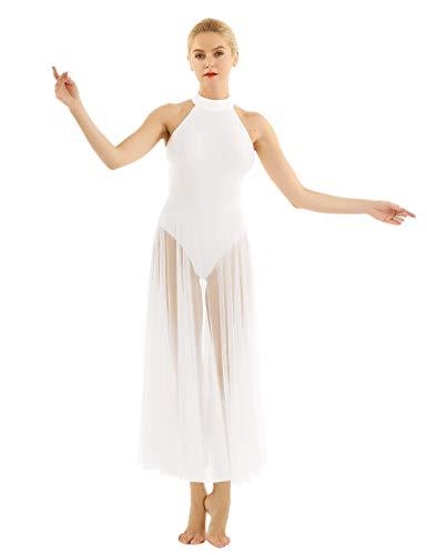 YOOJIA Mujer Vestido de Danza Baile Lírico Cuello Halter Mailllot de Ballet Falda Larga Elegante de Malla Traje Bailarina Blanco 1 X-Large