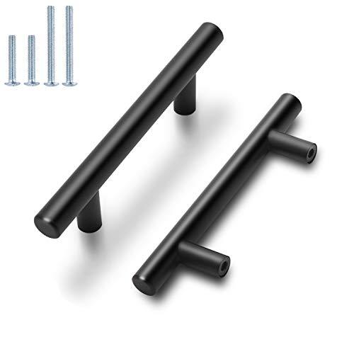 Probrico Flat Black Modern Cabinet Hardware Drawer Handle Kitchen Cupboard T Bar Pull Dresser Knobs Set - 3 Inch Hole to Hole Spacing - 15 Pack