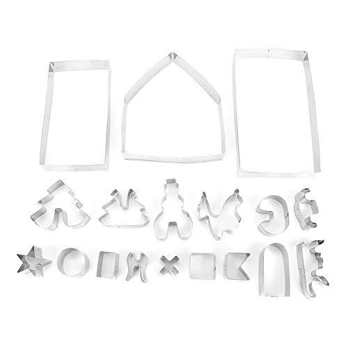 Cookie Mold-18Pcs/Set Acero inoxidable Molde para galletas Juego de cortadores Navidad DIY Moldes para la casa Herramienta para hornear