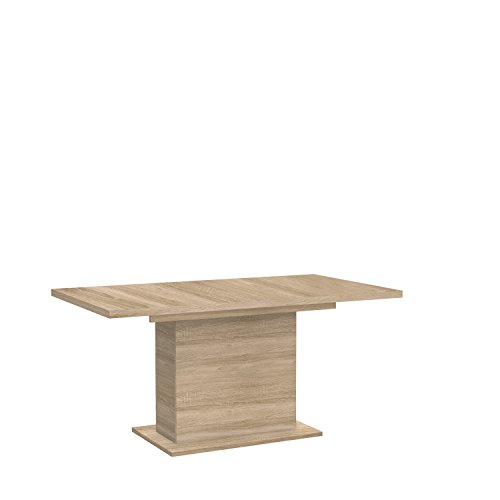 FORTE Calpe Esstisch mit Synchronauszug und einer innenliegenden Einlage, Holzwerkstoff, Sonoma Eiche Dekor, 160 x 90 x 76.59 cm