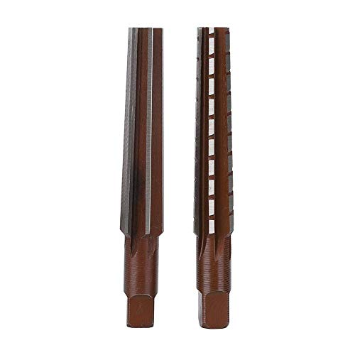Kegelreibahle, 2 Stück, grob + feiner Morsekegel, Reibahle, Hartstahl, Bohrkronenschneider, gerader Schaft, Handreibahle (MT1#)