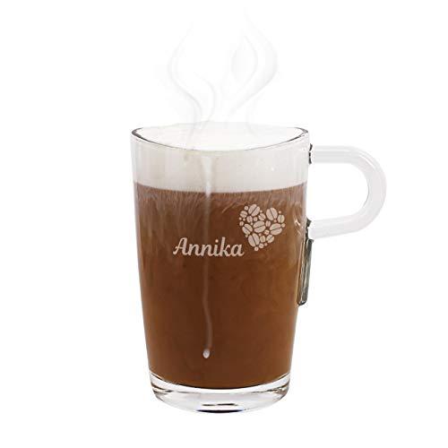 Herz & Heim® Leonardo Loop Glastasse mit Gravur des Wunschnamens für Kaffeegenießer Kaffeeherz