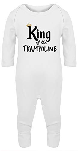 Hippowarehouse King of The Trampoline TrampoliningBaby Romper All in one Piece Unisex White