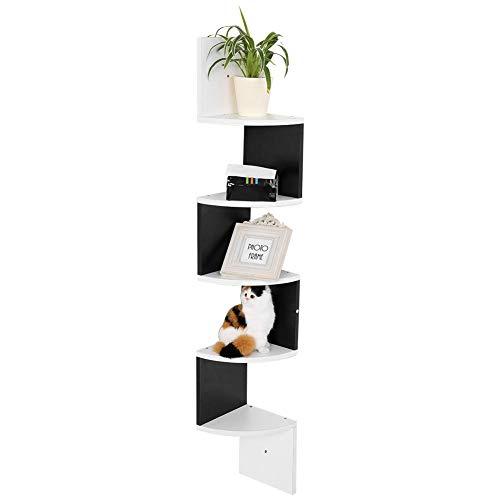 Estantería esquinera de 5 niveles, estantería de pared de madera, estantes esquineros para guardar tus libros, jarrones, fotos familiares, CD, objetos de colección, blanco y negro