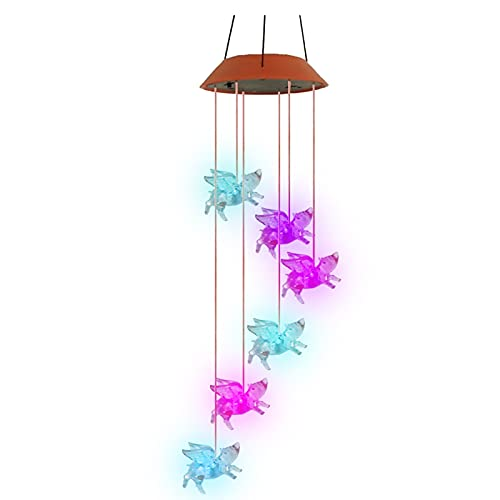 WYBXZ Solar Flying Pig Led Wind Chime Outdoor Lights Color Changing Waterproof Rotating Windchime Solar Powered Flying Pig Decor Spiral Spinner Mobile Romantic Garden Decoration
