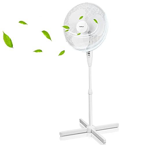 Aigostar Daisy - Ventilador de pie silencioso, 3 velocidades, diámetro 45 cm, 40W. oscilación de 80 grados. Altura regulable, máxima 1,3 m. Diseño exclusivo.