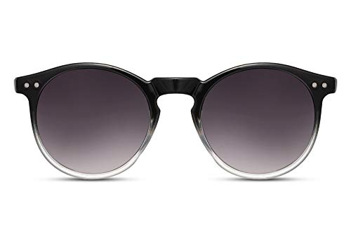 Cheapass Gafas de Sol Redondas Brillante Negras a Transparente Montura con Oscura Graduales Cristales UV400 protegidas Vintage Hombres Mujeres