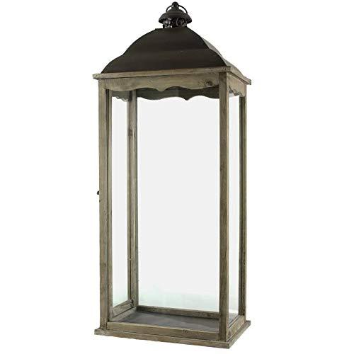 L'Héritier Du Temps Grande Lanterne Bougeoir Rectangulaire ou Lampe Tempête Intérieur Extérieur en Fer et Bois Patiné Marron 22x34x90cm