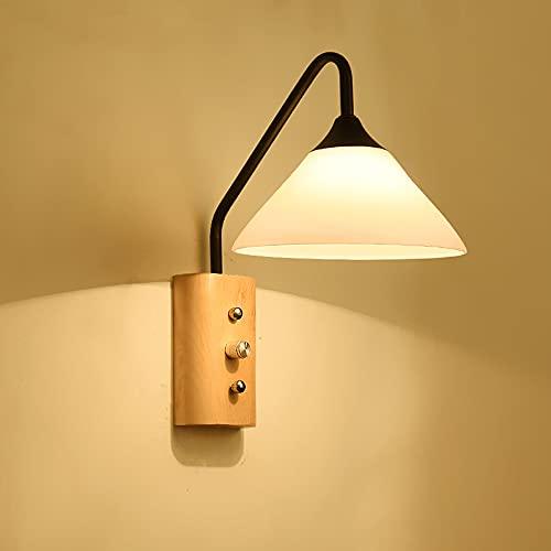 LLYU Lámpara de pared de madera maciza nórdica y dormitorio minimalista moderno lámpara de noche negra Lámpara de pasillo de cocina creativa japonesa pasillo lámpara de pared llevada (22 * 16 * 26) cm
