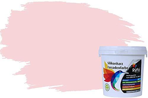 RyFo Colors Silikonharz Fassadenfarbe Lotuseffekt Trend Pastellrosa 1l - bunte Fassadenfarbe, weitere Violett Farbtöne und Größen erhältlich, Deckkraft Klasse 1