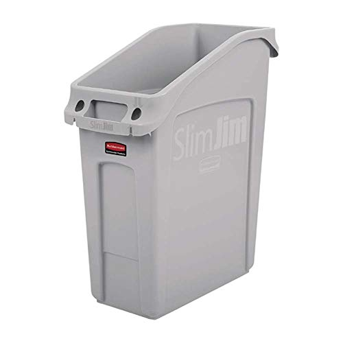 Rubbermaid Commercial Products 2026695 Slim Jim Under-Counter Trash Can with Venting Channels, 13 Gallon, Gray