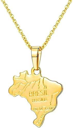 WYDSFWL Collar Brasil/India Mapa de la nación 15 países Collar Colgante de Color Dorado para Mujeres/Hombres joyería Regalo Collar Regalo