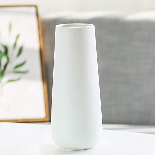 ABQ - Jarrón de cerámica blanca para decoración de escritorio de casa, decoración de oficina, decoración de boda, 11,4 x 27,9 cm