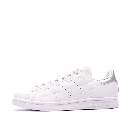 adidas Stan Smith W, Scarpe da Ginnastica Donna, Ftwr White/Ftwr White/Silver Met, 38 2/3 EU