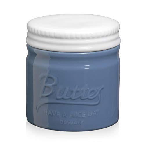 DOWAN Butter Dish, Porcelain Butter Keeper Crock, Mason Jar Style Butter...