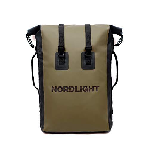 Nordlight Wasserdichter Rucksack 30 L (olivgrün) - Roll Top mit gepolstertem Tragegurt, Dry Bag Rucksack für Wassersport, Fahrrad Rucksack, Kurierrucksack, Trekking, Angeln, Snowboarden