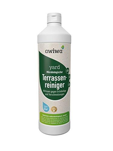 awiwa Terrassenreiniger, Moosentferner & Grünbelagentferner für Garten, Pflasterstein etc. - ohne Chemie - 1 Liter für bis zu 50 m² moosfrei
