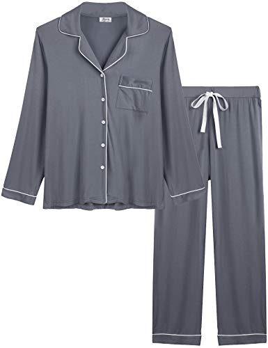 Joyaria Womens Two Piece Button Up Pajama/Pj/Sleep/Lounge/Jammy Sets Sleepwear(Grey, Medium)