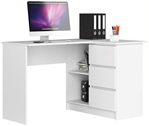 ADGO B16 - Mesa de ordenador esquinera de madera, 124 x 77 x 85 cm, con 3 cajones para un espacio para niños y adolescentes, taller y oficina (correctamente, blanco)