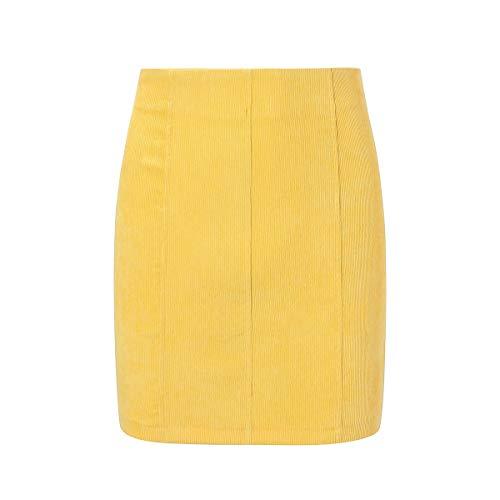 HaiQianXin Falda Mini de Tubo de Bodycon Vendaje Color Puro Sexy para Mujer (Color : Yellow, Size : XL)