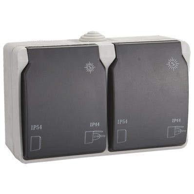 Schuko doble de Superficie【RESISTENTE AL AGUA】Enchufe de pared estanco • Toma corriente【IP54 - IP44】