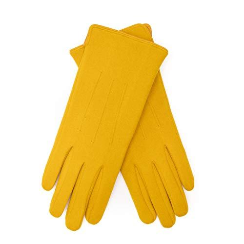EEM VEGAN - Guanti da donna Tina, effetto pile, con funzione touch, foderati con morbido pile giallo senape Taglia unica