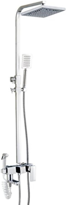 Duschkopf mit Spritzpistole 4 Wasserausgang Kupfer Edelstahl Wandbehang Silber Wei Plattierung Düse