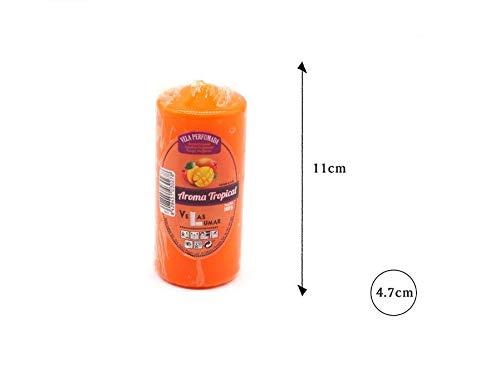 takestop® Vela perfumada 11 x 5 cm Naranja Aroma Mango Tropical cilíndrico Cera Brillante Mesa Cena 140 g decoración casa Perfume Ambiente