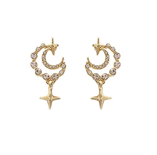 Korean Classic Elegant Rhinestones Inlaid Hollow Metal Star Moon Drop Pendent Earrings for Women Girls Lover Ear Jewelry Gift 2pcs