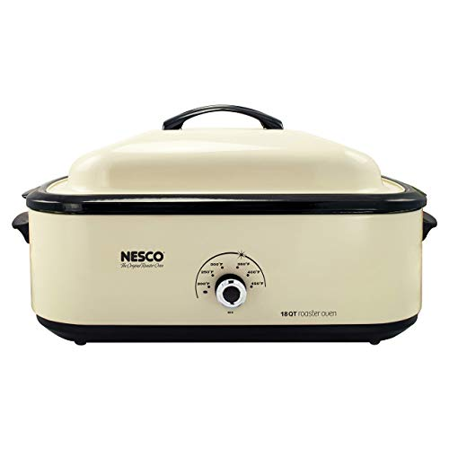 Nesco 4818-14 Classic Roaster Oven, 18-Quart, Porcelain Cookwell, Ivory (Renewed)
