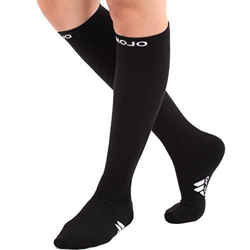 Mojo Compression Socks Plus Sized 2XL Knee-High, 20-30 mmHg, Extra-Wide Calf, Black XX-Large M841BL5
