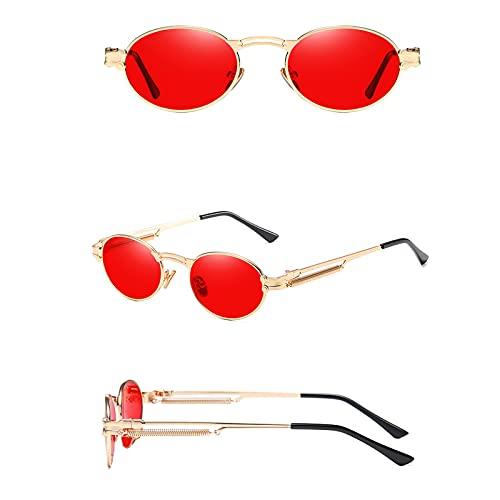 Amugo Gafas de sol vintage Steampunk, ovaladas, marco de metal de verano, para hombre y mujer. (F)
