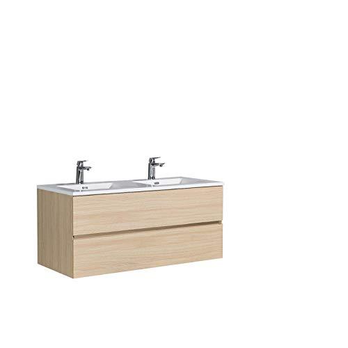 Ensemble pour salle de bain EDGE 1200 - Meubles de bain de couleur:Effet chêne naturel, Lavabos:Blanc brillant