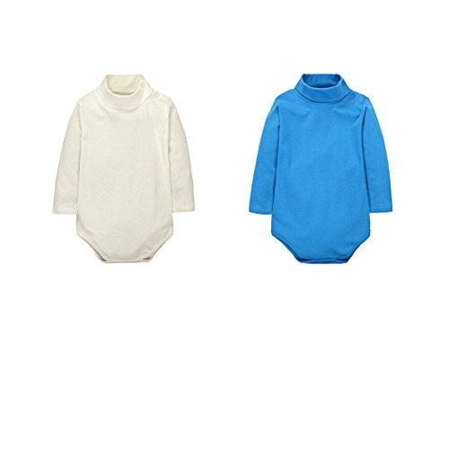 CuteOn 2 Packs Unisexe bébé Romper - Col roulé Manches longues - 100% coton - Enfant Bodysuit Combinaison Beige + Bleu 18 Mois