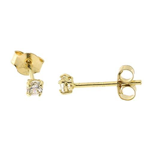 14k Yellow Gold Basket Set Cubic Zirconia Stud Earrings, 2 Millimeters (0.06ctw)