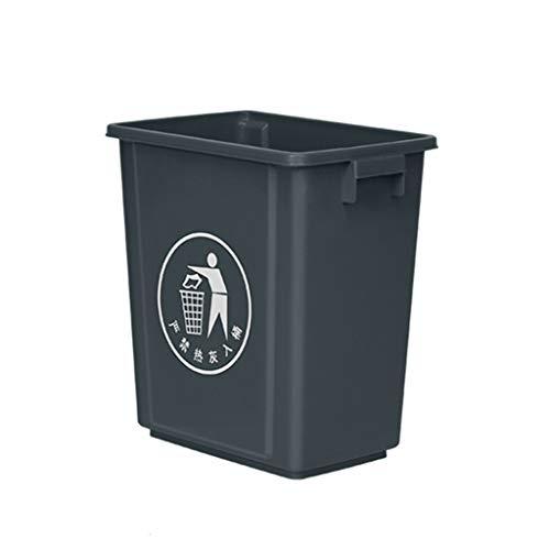 C-J-Xin Indoor Mülleimer, 20L Haushalt Badezimmer Küche Kunststoff Mülleimer Rechteck Keine Abdeckung Mülleimer 33 * 21,5 * 35 cm Hohe Kapazität (Color : Gray)