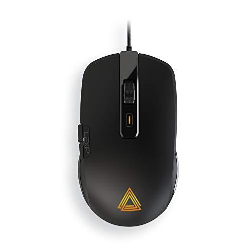 Lexip - Mouse Gaming - Np93 Neptunium Alpha - Innovazione Francese - Con Joystick Interno a 2 Assi - Massima Fluidità con Pattini in Ceramica + Peso Regolabile + 12 Pulsanti Programmabili