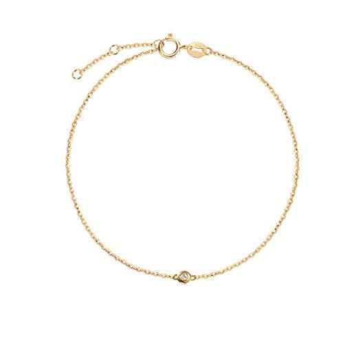 Solide 18 Karat 750 Gelb Gold Armband mit Echt Natürlich Diamant 0.015 ct Charm Bracelet Minimalistisch Geschenk Schmuck für Damen Mädchen - Verstellbar Armkette: 17 + 3 cm