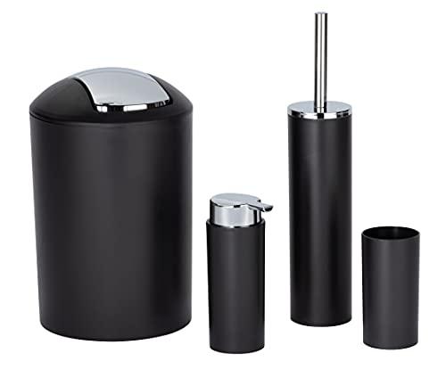 WENKO Badezimmer-Toiletten-Set Calvo 4-teilig mit Seifenspender Zahnputzbecher WC-Bürste & Eimer Schwarz mit Chrom Details