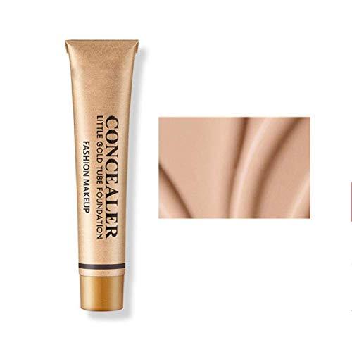 KGIDK Little Gold Tube Liquid Foundation Concealer, Professional Full Cover Matte Hydratant Base Make Up, Spots Dark Circles Pores Hydrater Concealer Primer (Natural Color,1PCS)