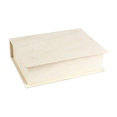 Aufbewahrungsbox aus Holz, Form: Buch, 4 x 15 x11 cm | klein mit Deckel | Schmuckkästchen, Schatulle, Kassette mit Klappdeckel | DIY, Heimwerken, Basteln (1)