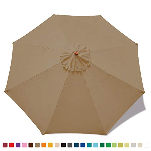 ABCCANOPY 9ft Outdoor Umbrella Replacement Top Patio Umbrella Market Umbrella Replacement Canopy with 8 Ribs(Khaki)