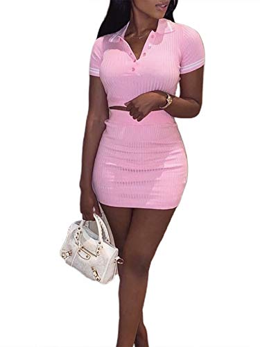 Women Two Piece Outfit, Sexy Solid Crop Top Mini Skirt Set Women Knitted 2 Piece Outfits (Pink Set, M)